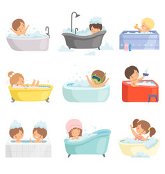 Cute little kids bathing and having fun in bathtub vector