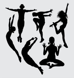 Dance aerobic silhouette vector