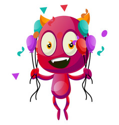 devil with balloons on white background vector image