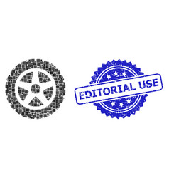 Distress editorial use stamp and square dot vector