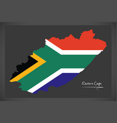 Eastern cape south africa map with national flag vector