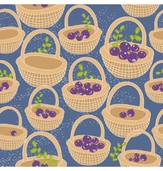 Endless background with baskets full of berries vector