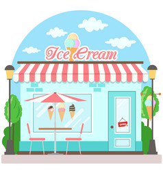 Facade ice cream shop with a signboard awning and vector