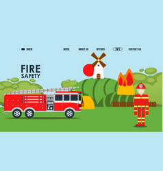 Fire safety online webpage vector