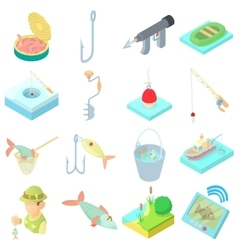 Fishing icons set in cartoon style vector image vector image