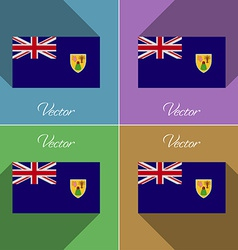 Flags Turks and Caicos Set of colors flat design vector