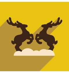 Flat icon with long shadow pair of deer vector