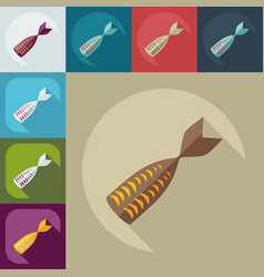 Flat modern design with shadow icons tuna fillet vector