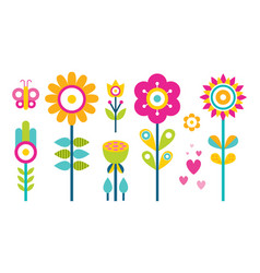 flowers collection in flat design butterfly tree vector image