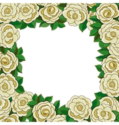 Frame of white roses isolated on white background vector image