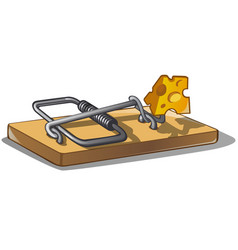 Free cheese in a mousetrap isolated on white vector