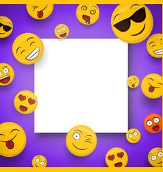 Fun smiley face cartoon icons white frame template vector