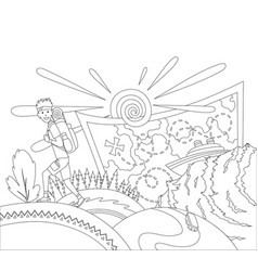 Go travel concept coloring book page a tourist vector