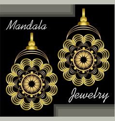 golden earrings in mandala style luxurious vector image
