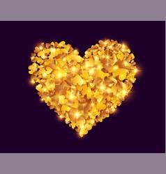 golden foil confetti hearts heart shape vector image