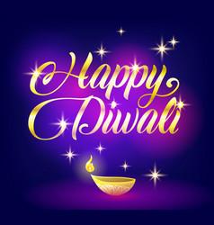 Golden happy diwali congratulation with stars on vector