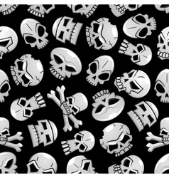 Halloween skeleton skulls seamless background vector