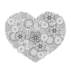 Hand drawn patterned Big heart vector image