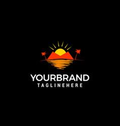 Heart shaped tropical beach and palm tree logo vector