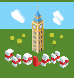 isometric big ben building vector image