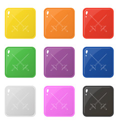 Line style crossed rapier icons set 9 colors vector