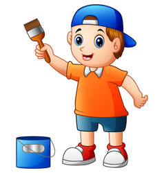 little boy painting with paint brush vector image