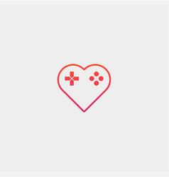 Love game pad logo design template vector