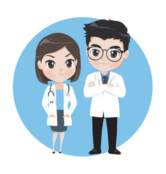 Male and female doctors cartoon characters vector