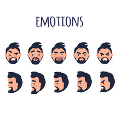 male facial emotions collection on white vector image