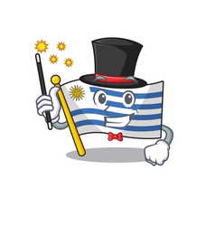 Mascot flag uruguay with in magician character vector
