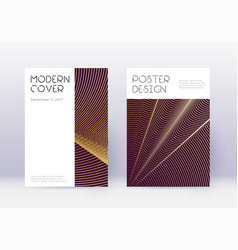 Minimal cover design template set gold abstract l vector