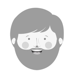 monochrome man head with beard and smiling face vector image