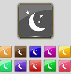 Moon icon sign Set with eleven colored buttons for vector