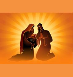 nativity scene holy family mary and joseph vector image