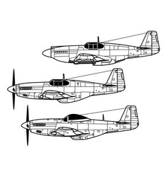 north american p-51 mustang vector image