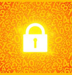 Orange glowing lock vector