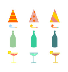 Party set celebratory cap and party horn alcohol vector