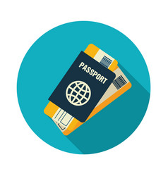 Passport with tickets icon summer vacation vector