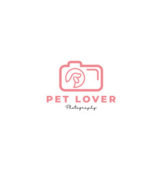 Pet or dog or cat camera lens photography logo vector
