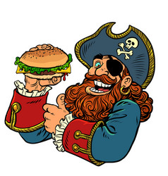 Pirate funny character fast food burger vector