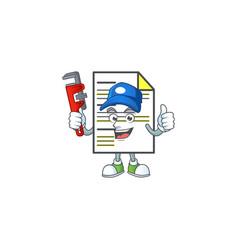 Plumber document cartoon mascot on white vector
