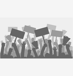 Political protest with silhouette protesters hands vector