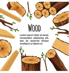poster of firewood materials for lumber industry vector image