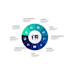 Presentation infographic 10 steps circle design vector