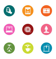 Print material icons set flat style vector