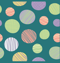 Quirky abstract doodle textured circles in green vector