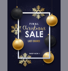 realistic christmas design with gold and black vector image