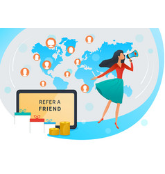 Referral marketing refer a friend and earn money vector