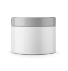 Round white glossy plastic jar for cosmetics vector image