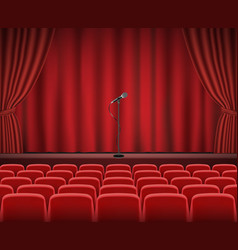 rows red stage seats with microphone vector image